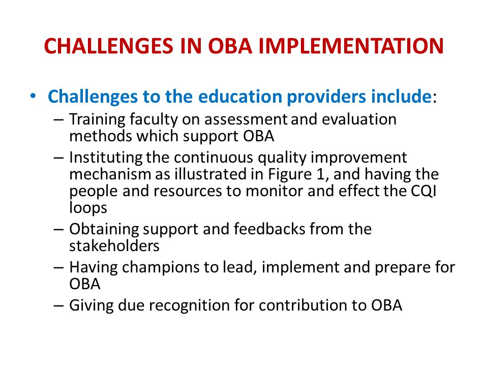 Challenges in OBA Implementation
