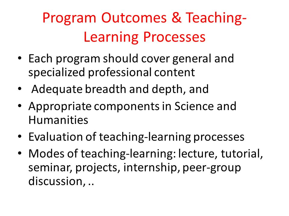 Program Outcomes & Teaching-Learning Processes