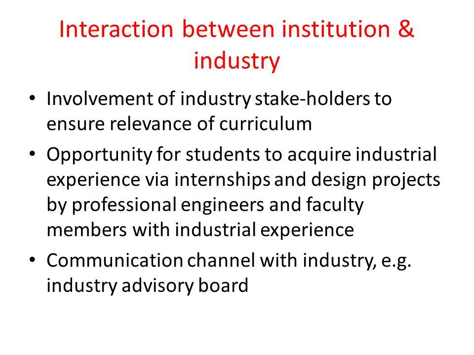 Interaction between institution & industry