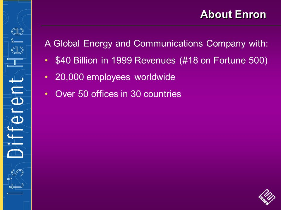 About Enron A Global Energy and Communications Company with: