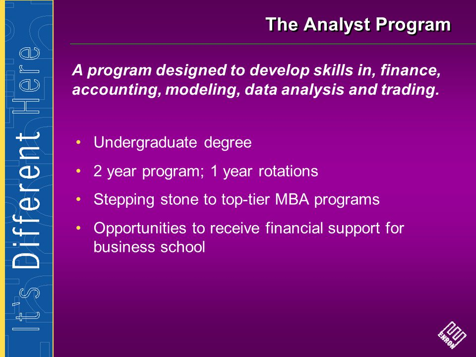 The Analyst Program A program designed to develop skills in, finance, accounting, modeling, data analysis and trading.