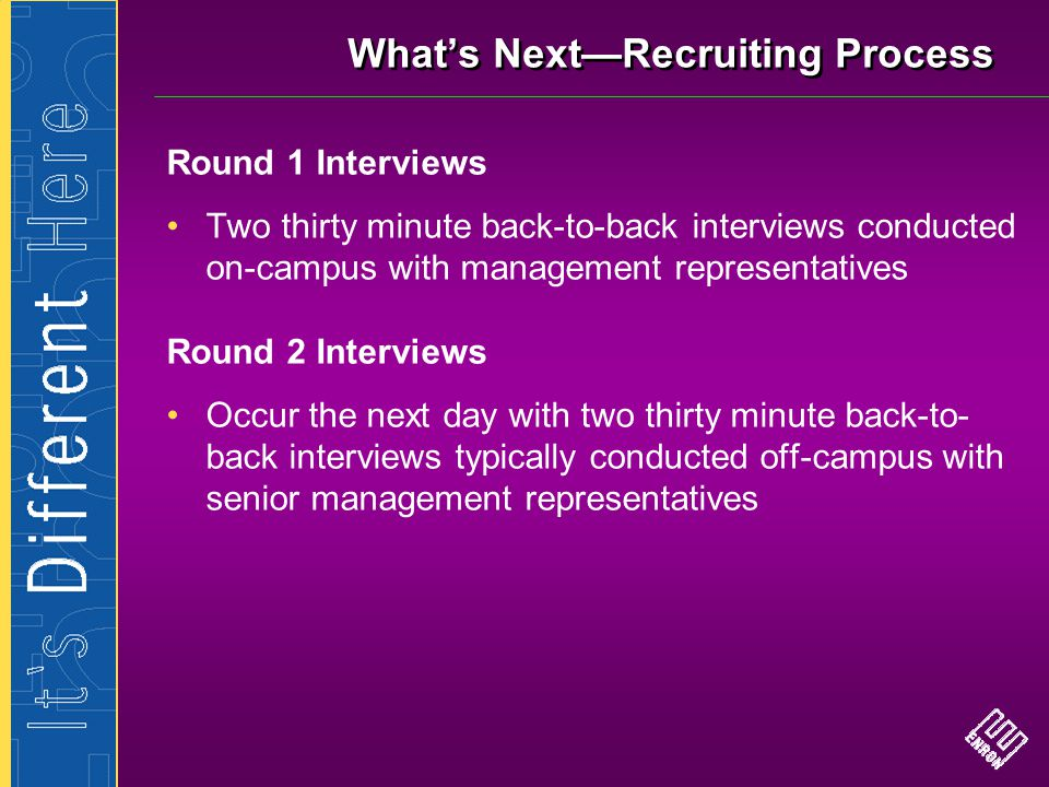 What's Next—Recruiting Process