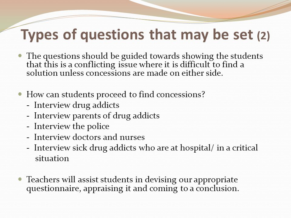 Types of questions that may be set (2)