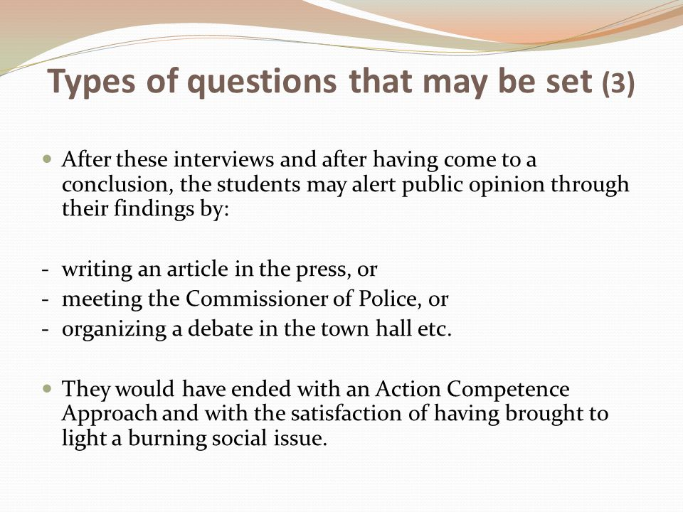 Types of questions that may be set (3)