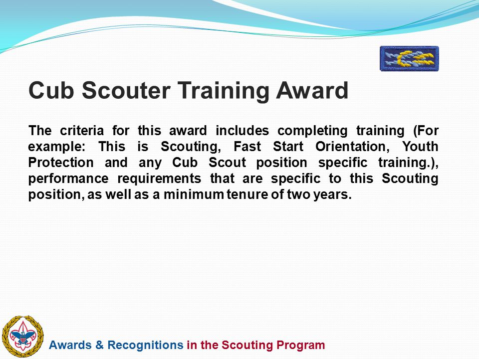 Cub Scouter Training Award