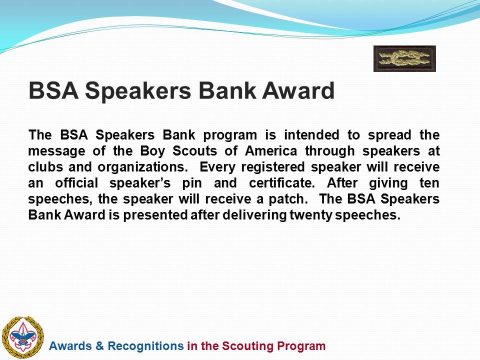 BSA Speakers Bank Award