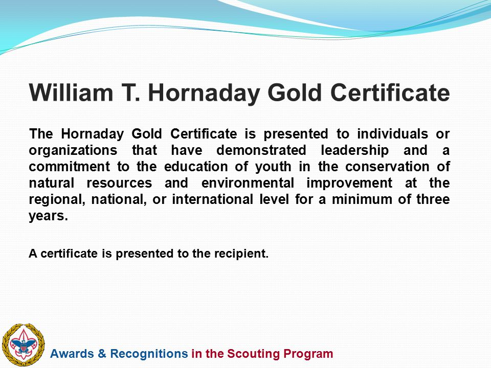 William T. Hornaday Gold Certificate
