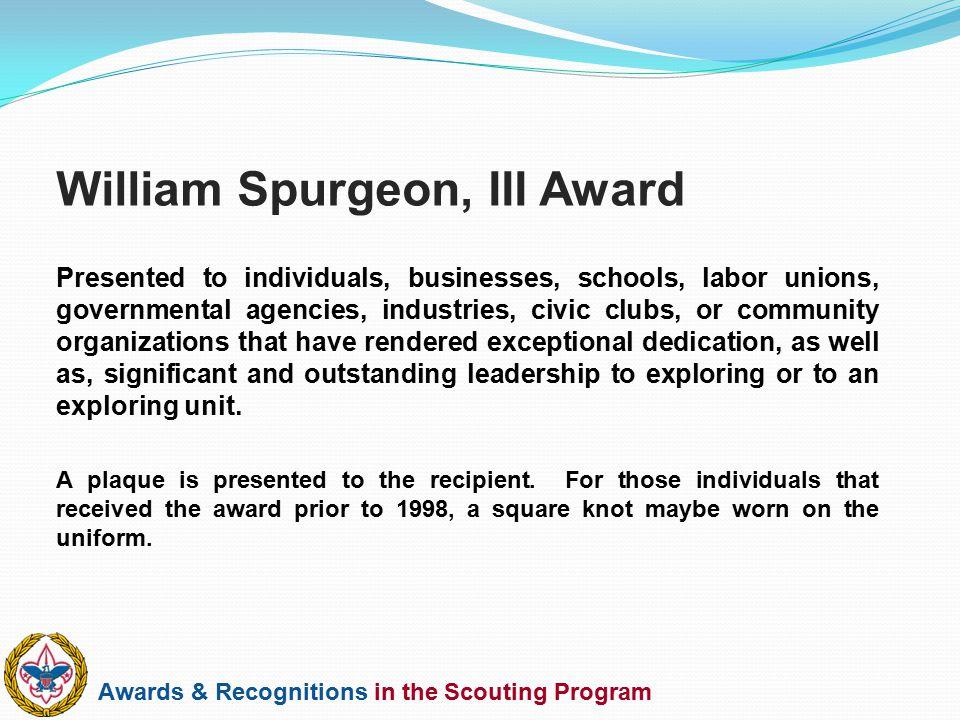 William Spurgeon, III Award