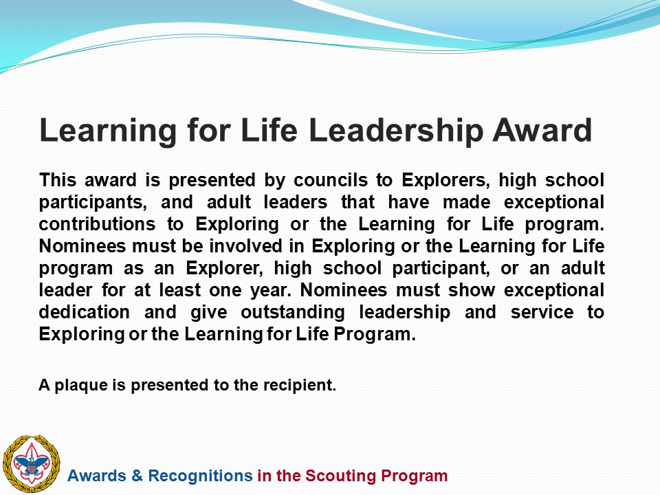Learning for Life Leadership Award