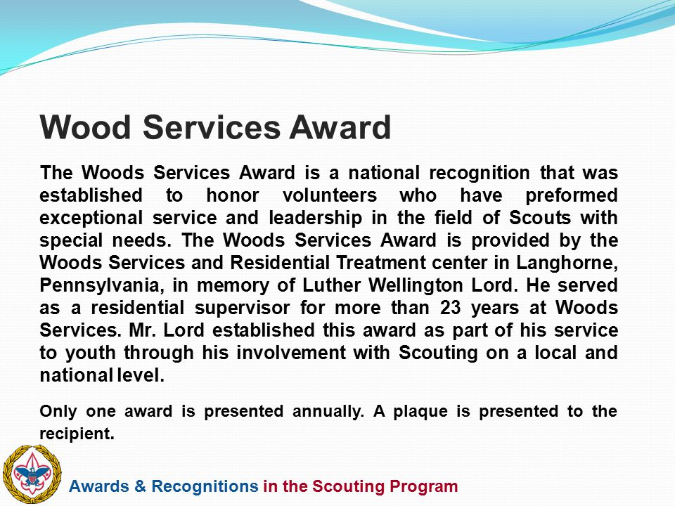 Wood Services Award