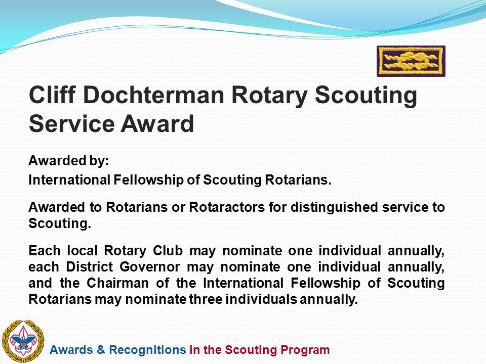 Cliff Dochterman Rotary Scouting Service Award