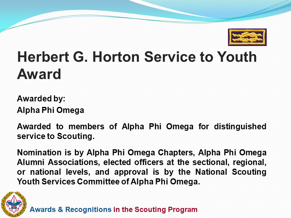 Herbert G. Horton Service to Youth Award