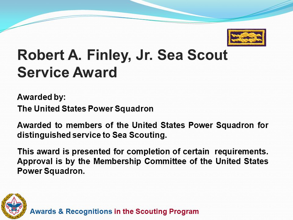 Robert A. Finley, Jr. Sea Scout Service Award