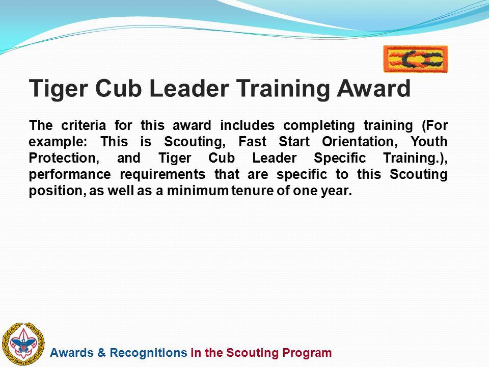 Tiger Cub Leader Training Award