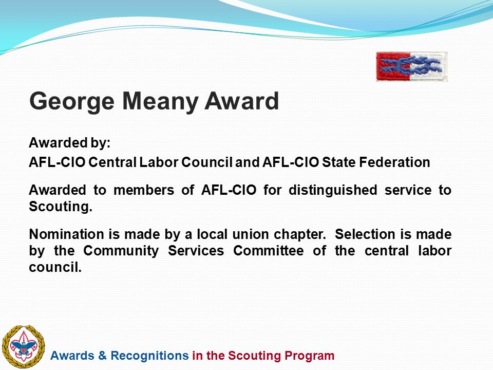 George Meany Award Awarded by: