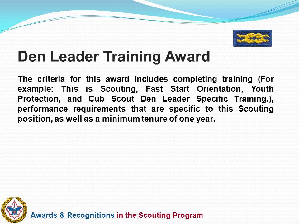 Den Leader Training Award