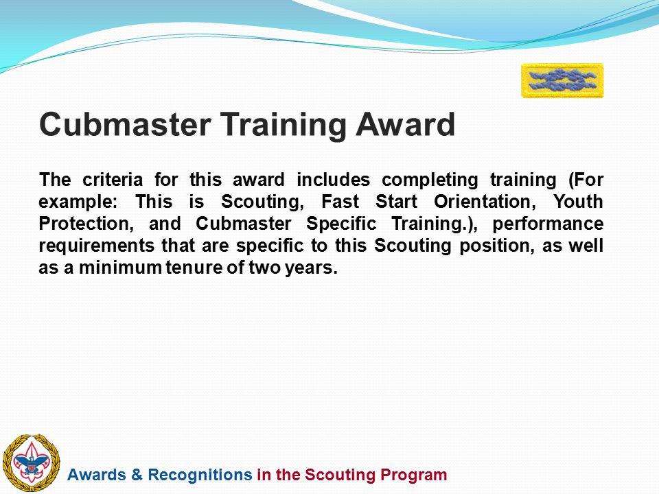 Cubmaster Training Award