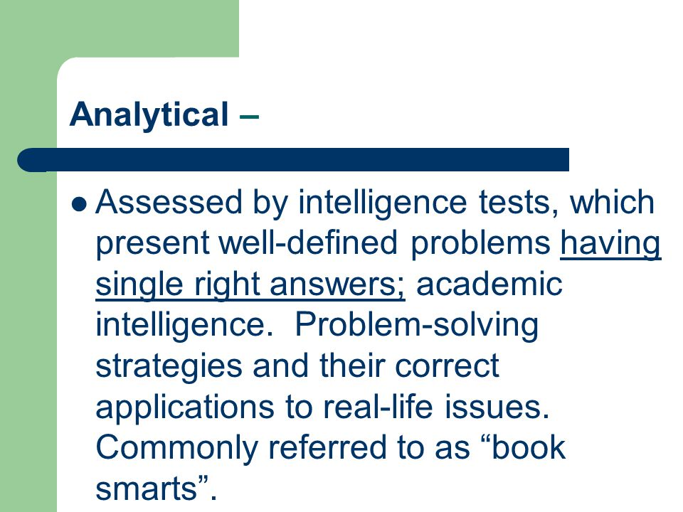 Analytical –