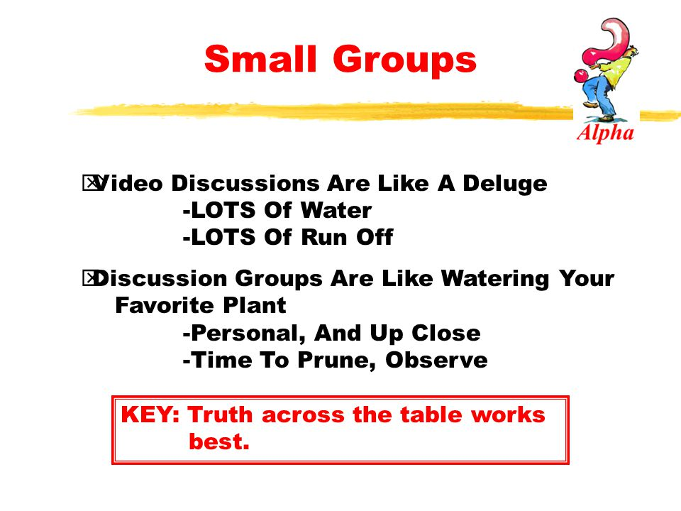 Small Groups Video Discussions Are Like A Deluge -LOTS Of Water -LOTS Of Run Off.