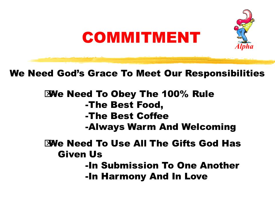 COMMITMENT We Need God's Grace To Meet Our Responsibilities
