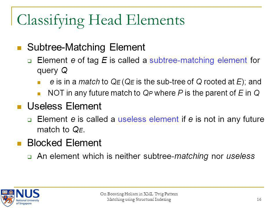 Classifying Head Elements