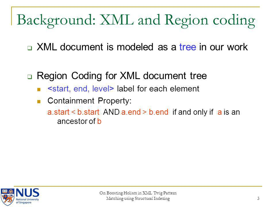 Background: XML and Region coding