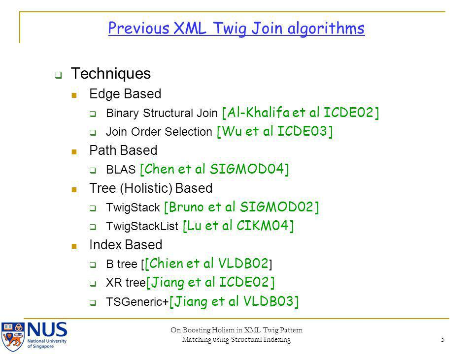 Previous XML Twig Join algorithms