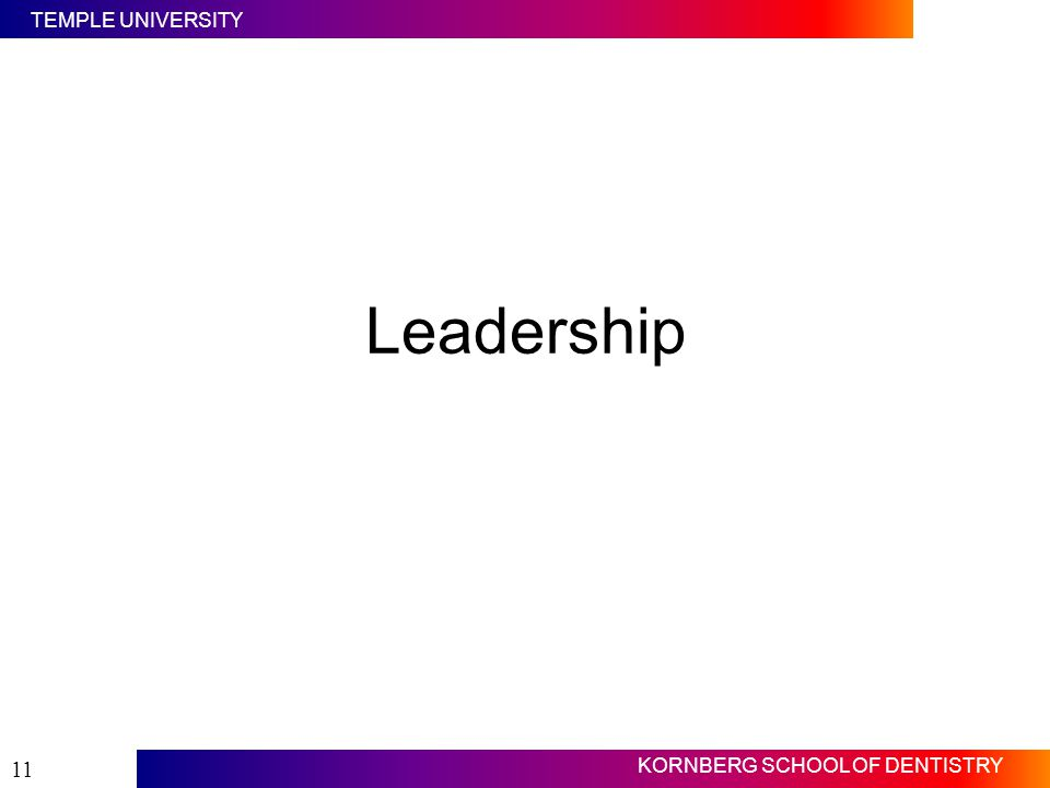 Leadership Slide #11. Now we will discuss leadership.