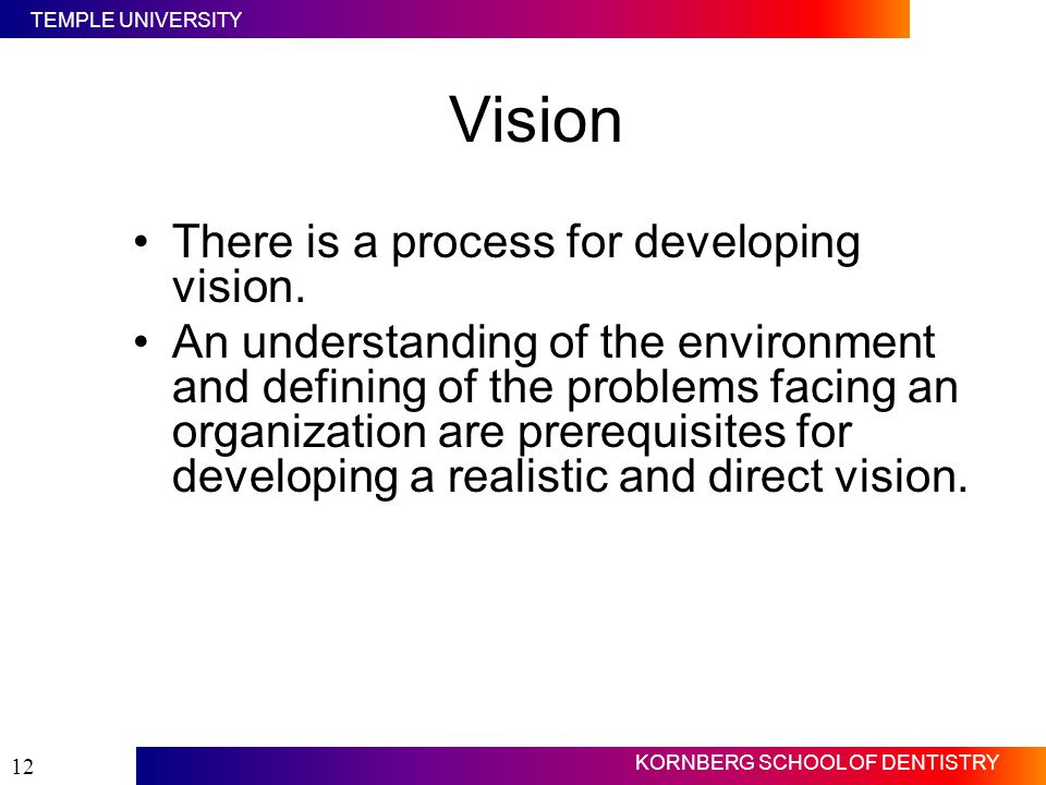 Vision There is a process for developing vision.