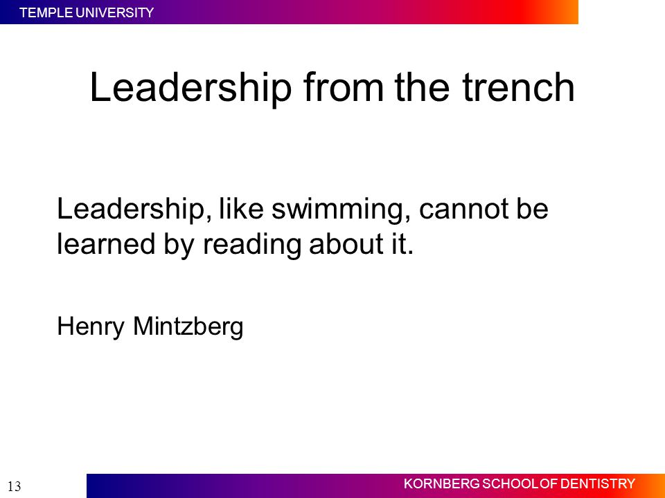 Leadership from the trench