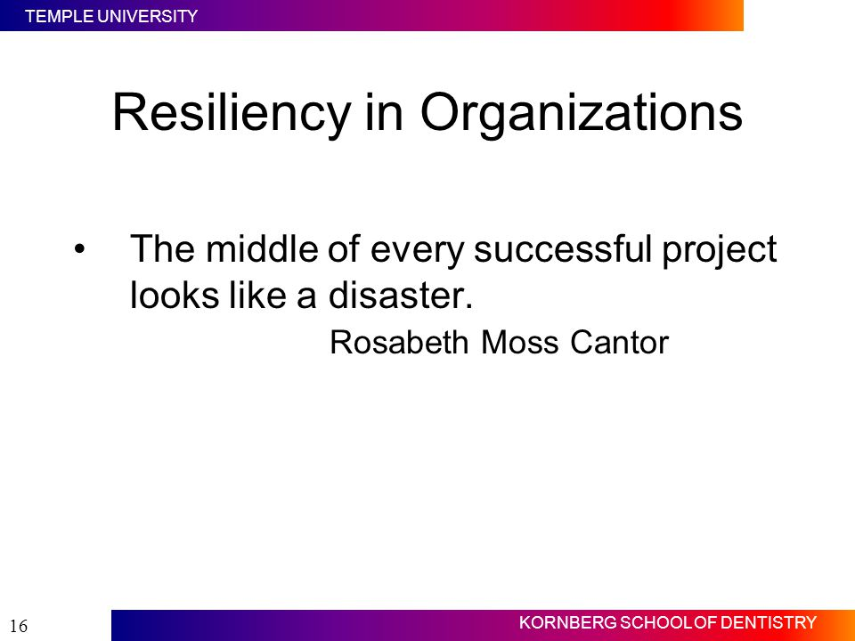 Resiliency in Organizations