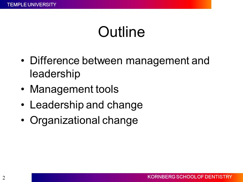 Outline Difference between management and leadership Management tools