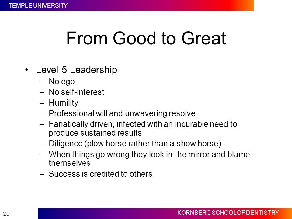 From Good to Great Level 5 Leadership Level 5 Leaders have: No ego