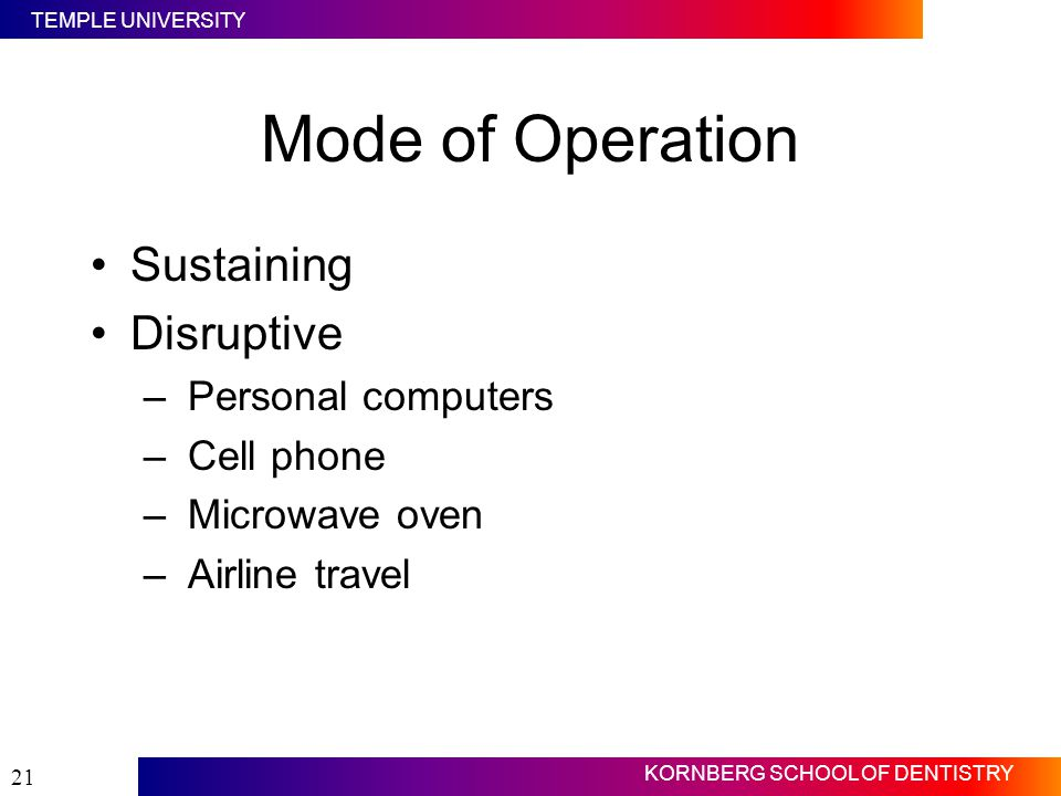 Mode of Operation Sustaining Disruptive Personal computers Cell phone
