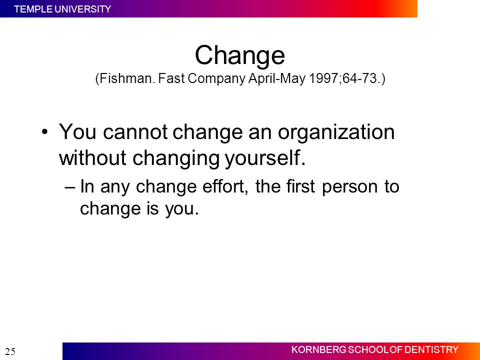 Change (Fishman. Fast Company April-May 1997;64-73.)