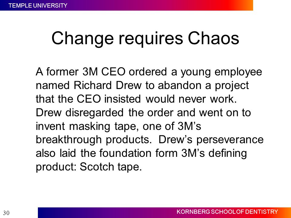 Change requires Chaos