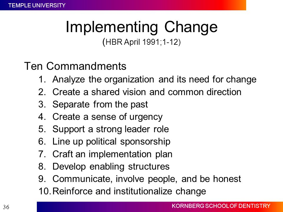 Implementing Change (HBR April 1991;1-12)