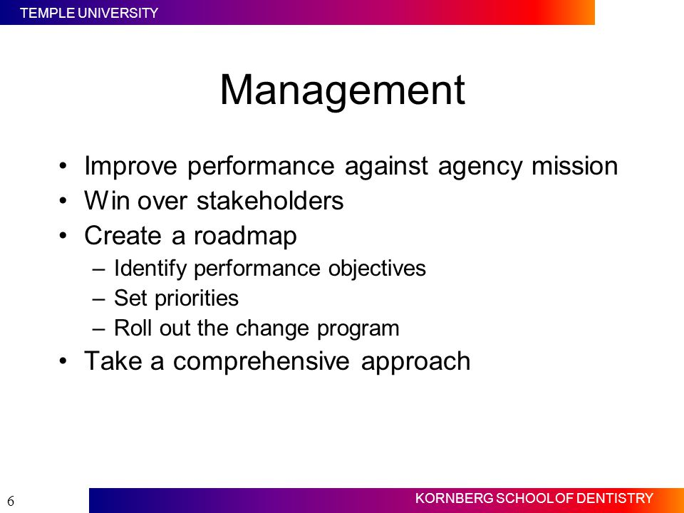 Management Improve performance against agency mission