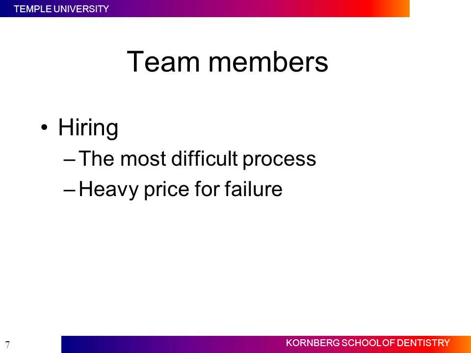 Team members Hiring The most difficult process Heavy price for failure