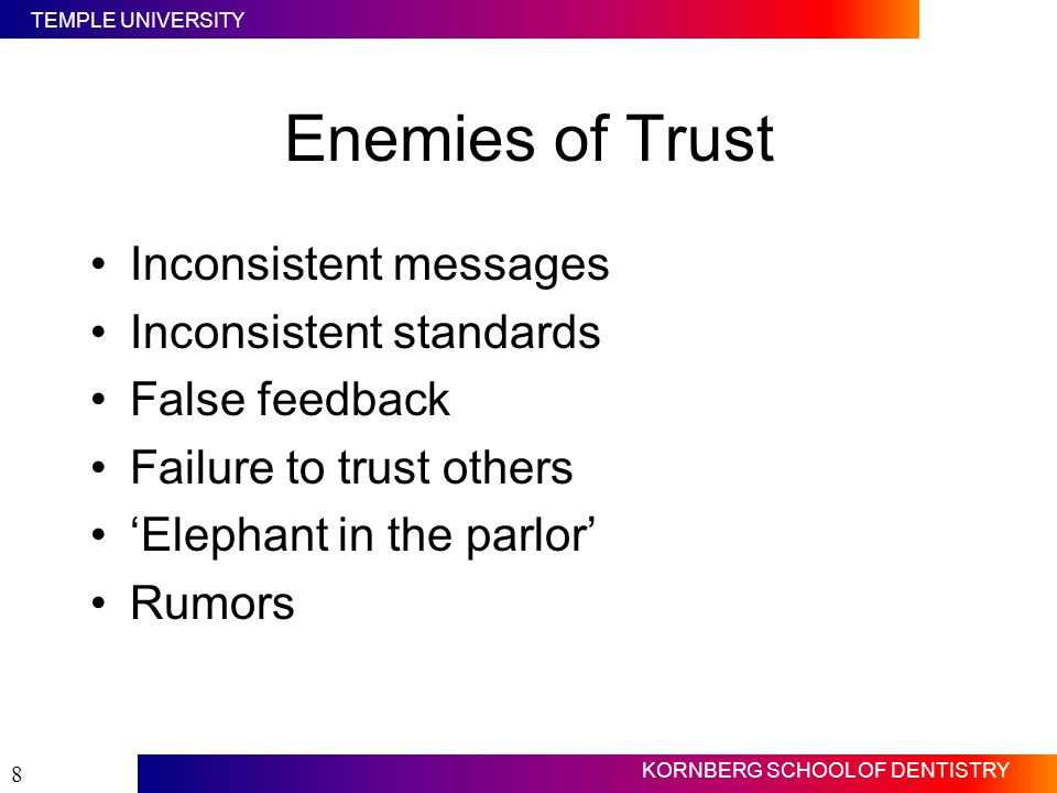 Enemies of Trust Inconsistent messages Inconsistent standards
