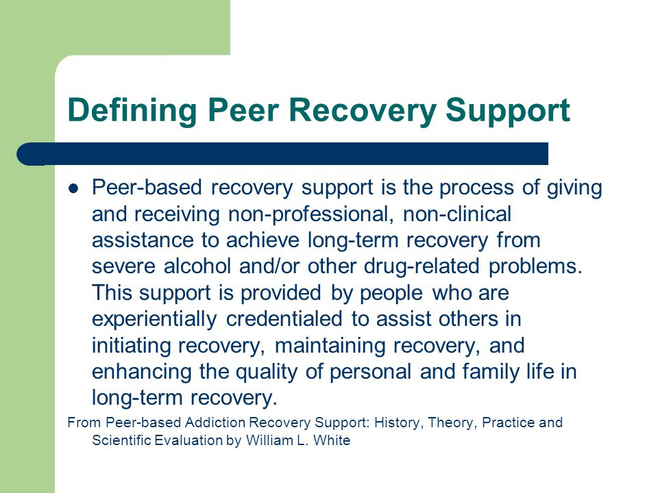 Defining Peer Recovery Support