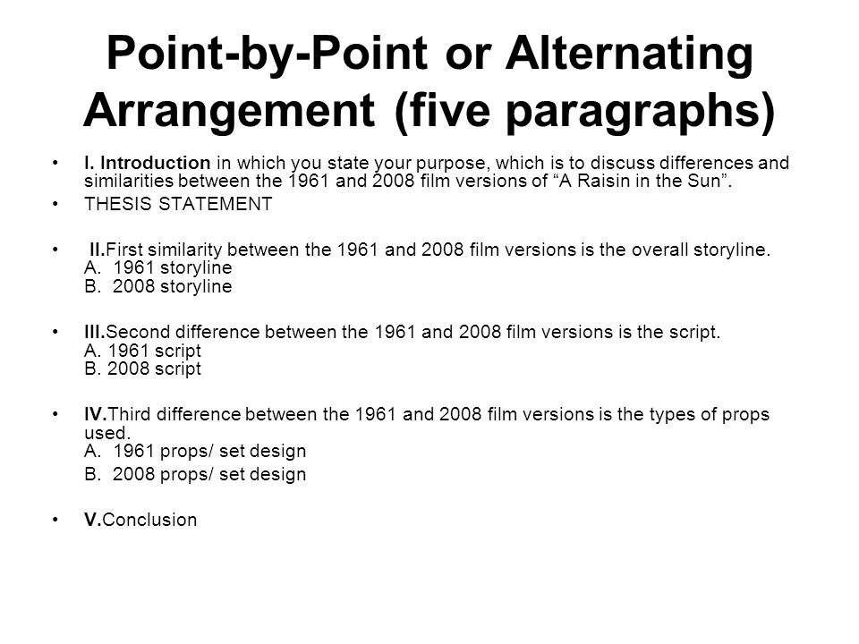 Point-by-Point or Alternating Arrangement (five paragraphs)
