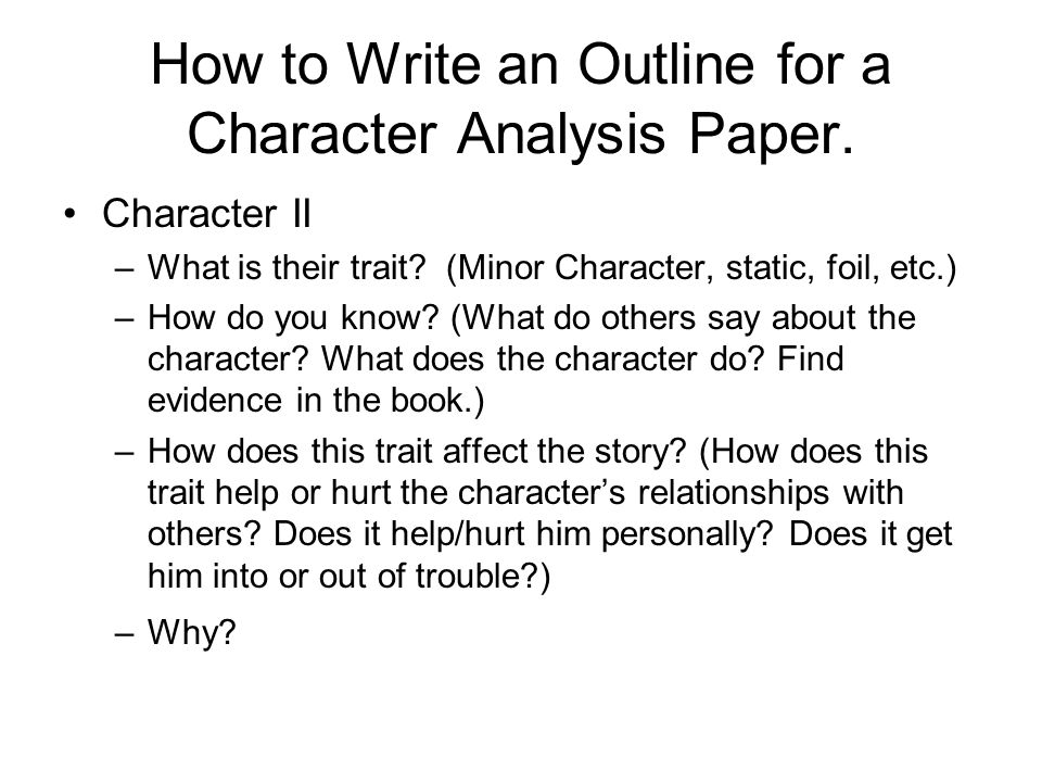 How to write a character traits