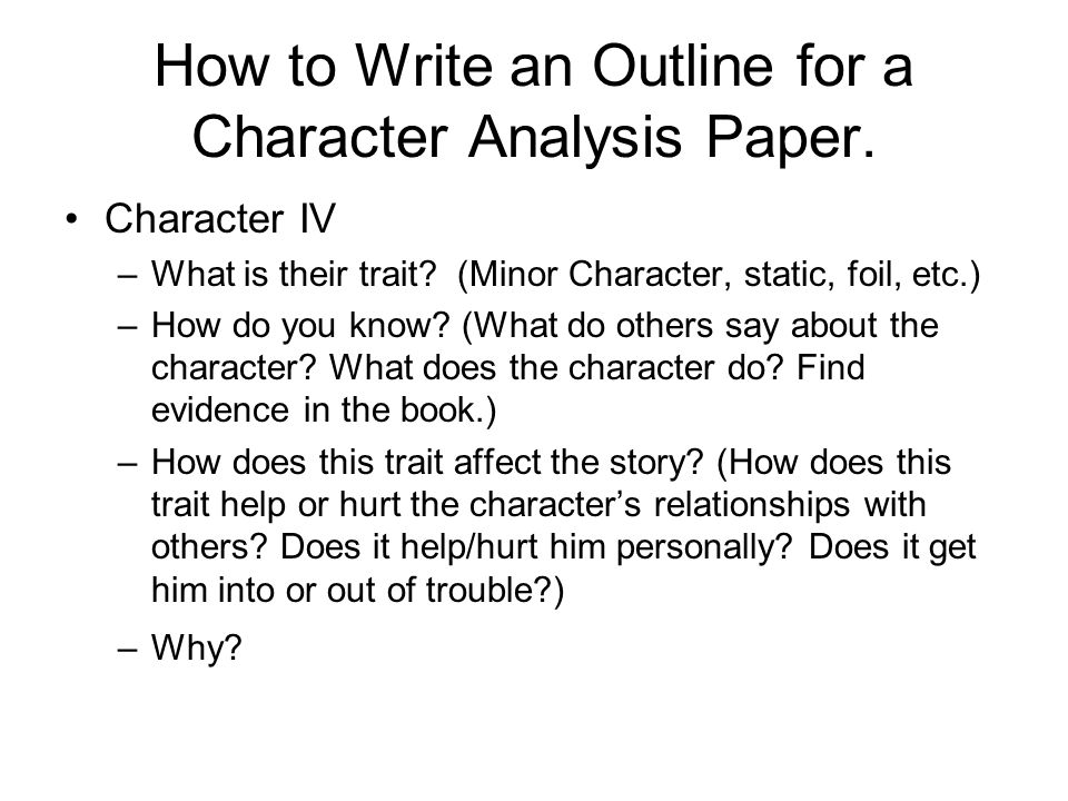 a character analysis write a character analysis