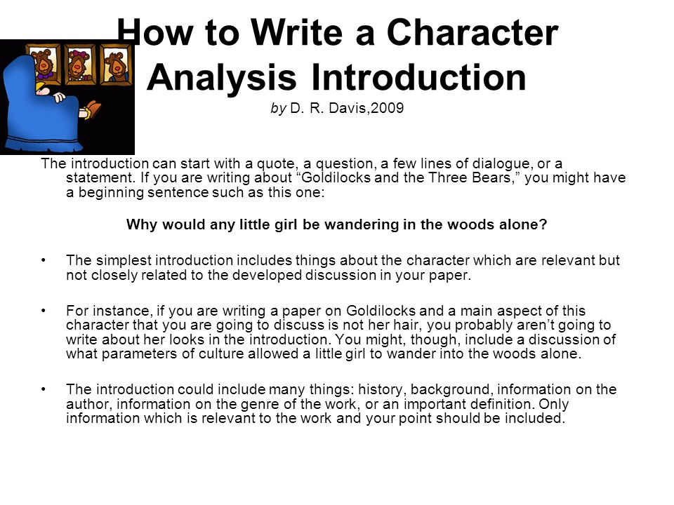How to Write a Character Analysis Introduction by D. R. Davis,2009
