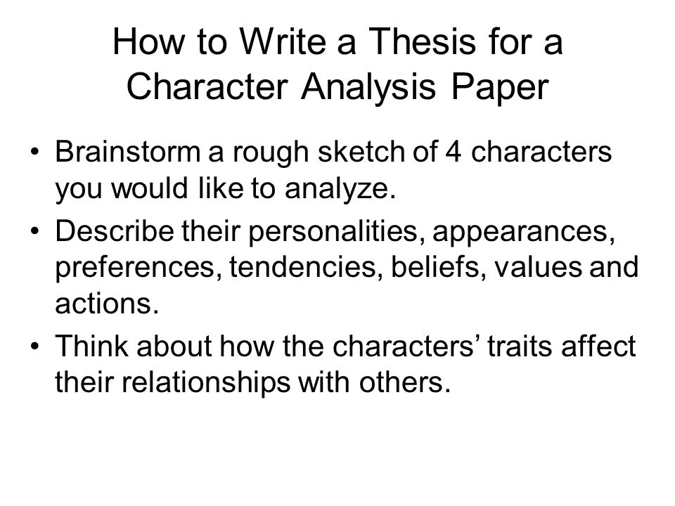 Writing a Character Analysis Essay - Central Bucks School