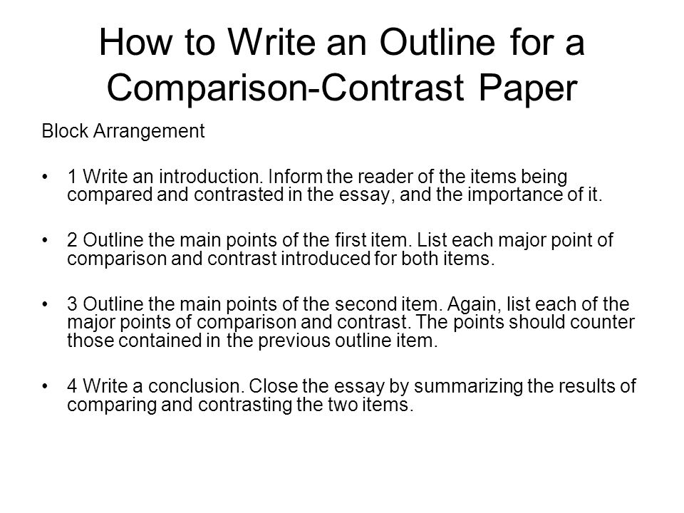 How to Write a Compare and Contrast Essay Outline Point-By