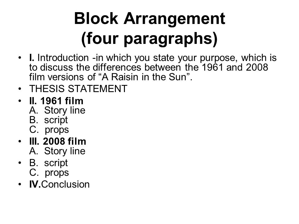 Block Arrangement (four paragraphs)
