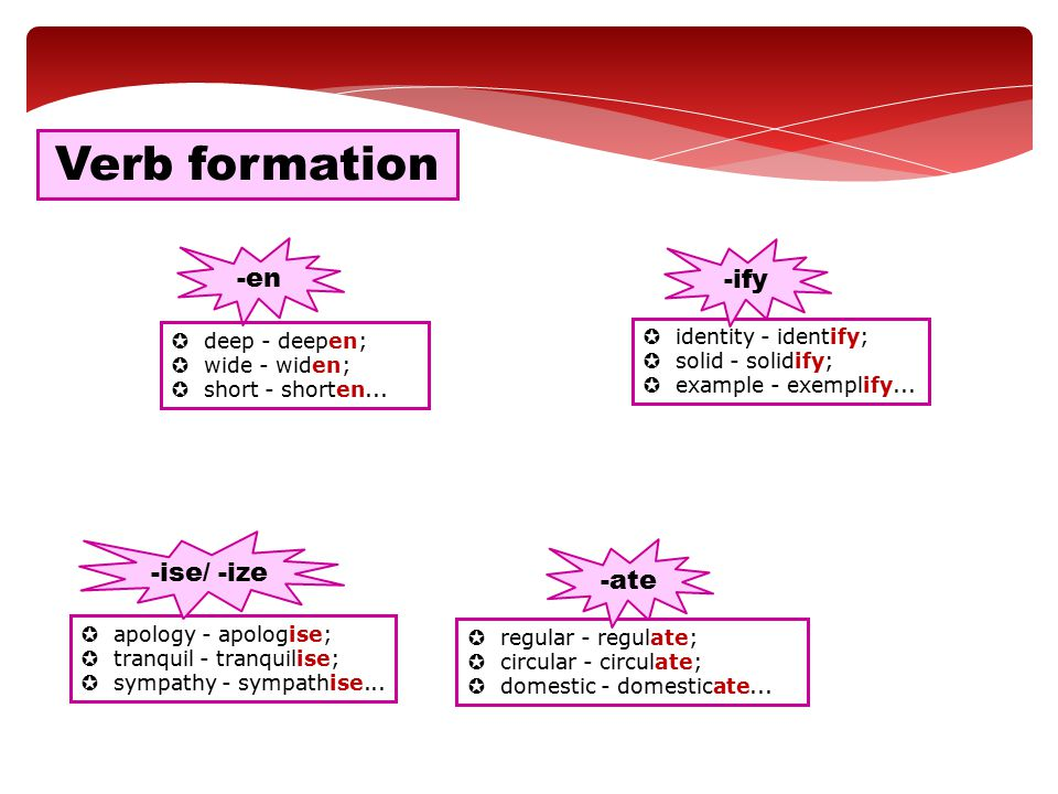 Verb formation -en -ify -ise/ -ize -ate identity - identify;