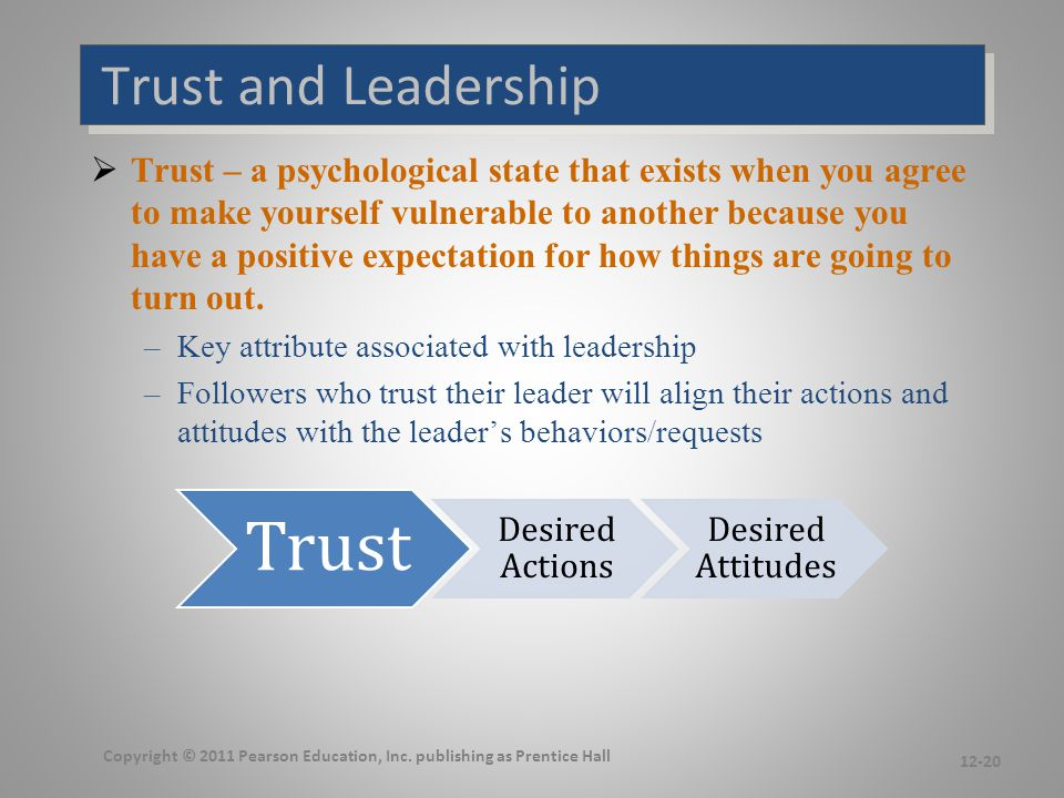 How is Trust Developed Leadership Action: Integrity, Benevolence, Ability. Trust.